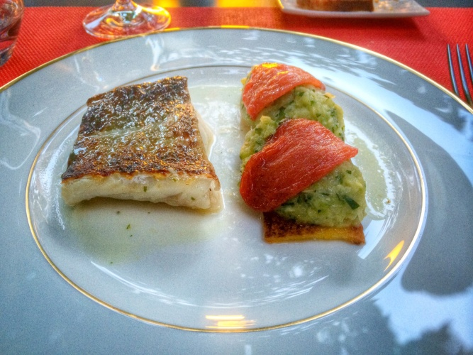 Broiled cod with crispy polenta, zucchini tartar and roasted tomatoes