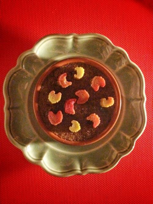 Chocolate crème brûlée with rhubarb