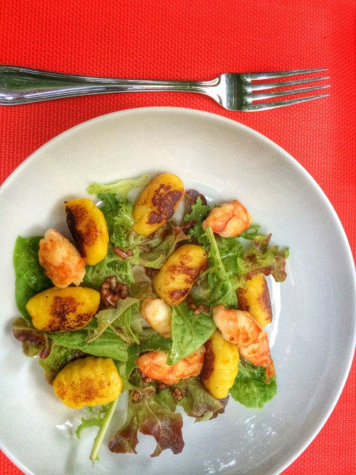 Saffron gnocchi and shrimp salad.