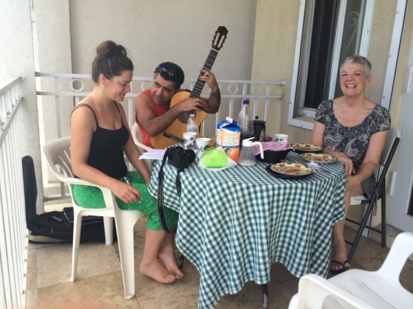 The first morning at the BnB we awoke to beautiful guitar music. Two of the guests were writing a song on the balcony while having breakfast. We joined them!
