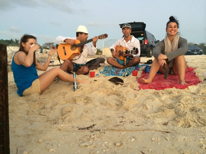 At the first beach BBQ; talented musicians included!